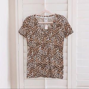 BNWT Victoria's Secret PINK leopard v neck tee XS